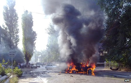 Scene of car bomb attack in the Dagestani capital Makhachkala in September 2010