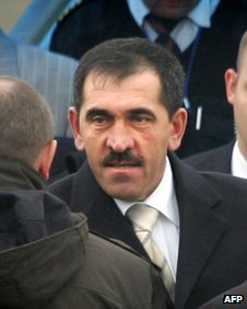 Mr Yevkurov arriving in Magas after his appointment as president of Ingushetia