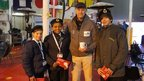 Bruke, Hal and Blert with Sir Ranulph Fiennes