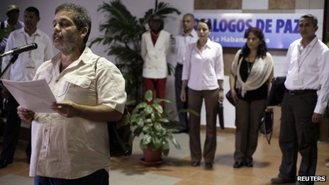Marco Leon, Farc spokesman, reads statement in Havana