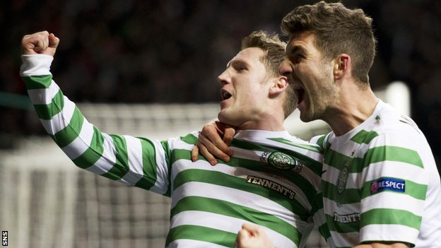 Commons and Mulgrew celebrate Celtic's winner against Spartak