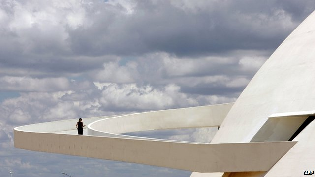 The ramp of Brasilia&quot;s National Museum, work of Brazilian architect Oscar Niemeyer
