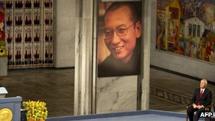 File photo: Liu Xiaobo being honoured in Oslo, 10 December 2010