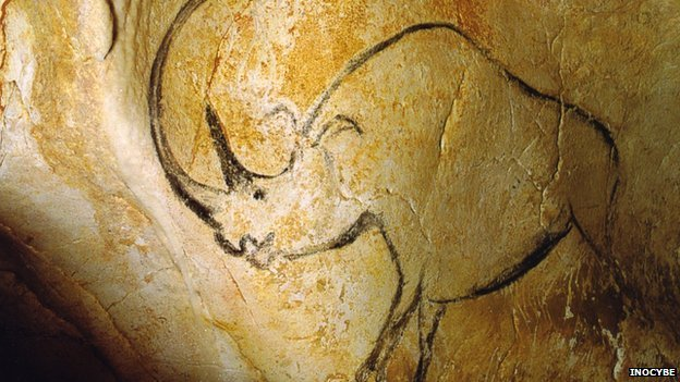 Cave art depicting a woolly rhino in the Chauvet cave, France