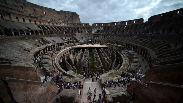 Visitors at Rome's Colosseum