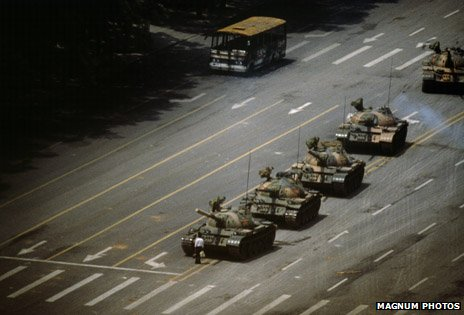Protestor in front of a tank in Tiananmen Square. Stuart Franklin, Magnum Photos
