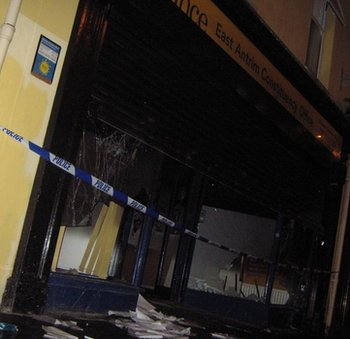 The damage to the Alliance Constituency Office in Carrickfergus