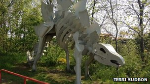 Dinosaur at Teesaurus Park. Photo by Terri Sudron.