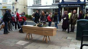 Michael Gething's funeral in Totnes