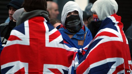 Loyalists wearing Union flags