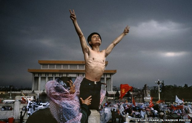 Student protest in Tiananmen Square, China, 26 May 1989