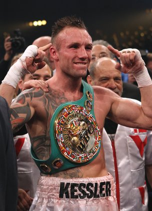 Mikkel Kessler celebrates after his victory over Carl Froch in 2010
