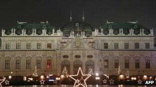 Christmas lights and decoration illuminations at Vienna's Belvedere Palace