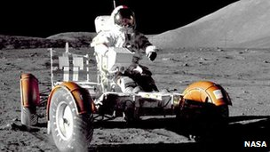Eugene Cernan drives the Apollo 17 rover (NASA/Harrison Schmitt)