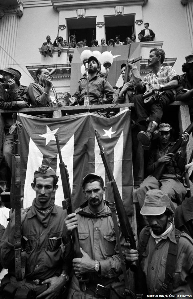 Fidel Castro delivers a speech on 1 January 1959
