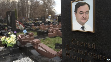 A tombstone on the grave of lawyer Sergei Magnitsky at a cemetery in Moscow in November 2012