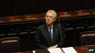 File photo of Prime Minister Mario Monti in parliament, Rome, 2011