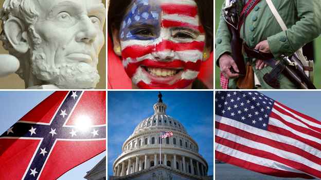 Clockwise from top left: Abraham Lincoln memorial; girl with US flag painted on her face; American Revolutionary Way re-enactor; Stars and Stripes; US Capitol; Confederate flag