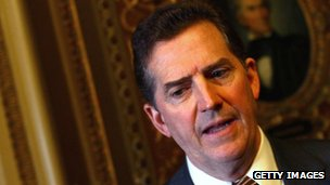 Sen Jim DeMint (R-SC) speaks with reporters outside the Senate chamber 15 December 2010 