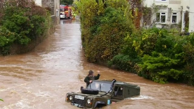 Flooding in Chew Stoke, Somerset