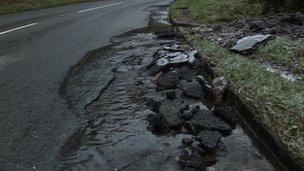 Damaged Cheddar Gorge road
