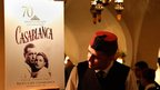 A poster about the film Casablanca at Rick&#039;s Cafe in Casablanca, Morocco - Saturday 24 November 2012
