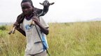 Congolese boy carrying a goat in eastern DR Congo - Tuesday 27 November 2012