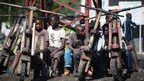 Children in Sake, DR Congo, by wooden bicycles - Thursday 29 November 2012