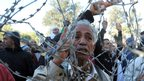 Protesters pictured through barbed wire in Siliana, Tunisia - Thursday 29 November 2012