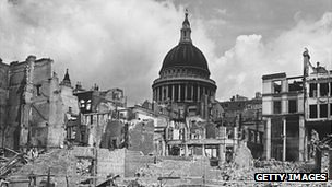 Devastated buildings around St Paul's Cathedral, London, after an air raid during the Blitz