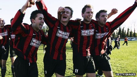 Erkan Okay celebrates Histon's 2-0 FA Cup win over Shrewsbury in 2004