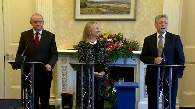 Martin McGuinness, Hillary Clinton and Peter Robinson