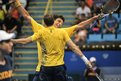 Marcelo Melo (right) and Bruno Soares of Brazil celebrate after winning a point