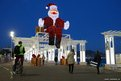 A giant Santa Claus is displayed on the Promenade des Anglais in Nice