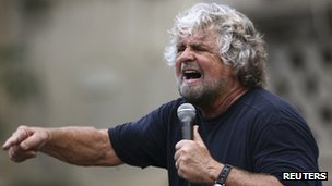 Five Star Movement figure Beppe Grillo campaigns in a local election in Sicily, 22 October