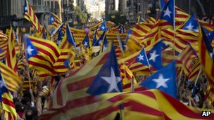 A sea of Catalonian flags on independence day on 11 Sept 2012