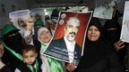 Palestinian women greet Khaled Meshaal in Gaza 07/12/12