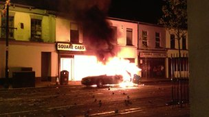 Car on fire in Belfast