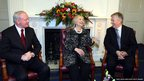 US Secretary of State Hillary Clinton at Stormont Castle with Northern Ireland's First and Deputy First Minister, Peter Robinson (right) and Martin McGuinness