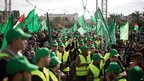 Supporters of Hamas gather at the rally in Gaza. 8 Dec