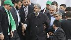 Khaled Meshaal (C) at the rally in Gaza, 8 Dec