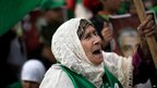 An elderly supporter of Hamas shouts slogans at the Gaza rally, 8 Dec