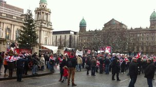 Protesters outside Belfast City Hall