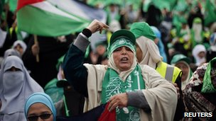 Palestinian Hamas supporters take part in a rally marking the 25th anniversary of the founding of Hamas, in Gaza City December 8