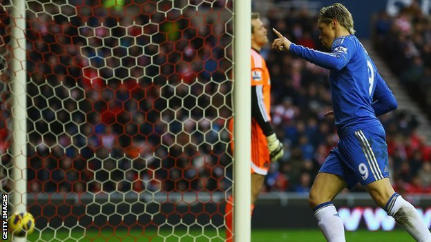 Chelsea's Fernando Torres celebrates his opener against Sunderland