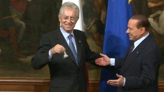 Prime Minister Mario Monti and Silvio Berlusconi
