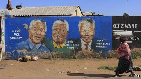Mural of Nelson Mandela in Soweto, Johannesburg, South Africa, on 9/12/12