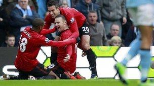Manchester United celebrate scoring