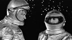 Sir Patrick Moore (l) and comedian Michael Bentine (r) wear space suits on The Sky at Night