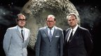 (Left to right), James Burke, Cliff Michelmore and Sir Patrick Moore